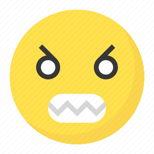 angry, emoji, emoticon, expression, face icon