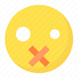 emoji, emoticon, expression, face, quiet, silence icon
