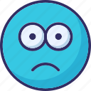 bemused face, confused, gaze emoticon, stare emoticon icon
