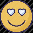 adoring, emoticons, hear eye, heart icon
