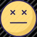emoticons, eyeless, sealed eye, smiley icon