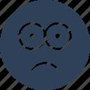 bemused face, confused, gaze emoticon, stare emoticon icon