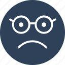 emoticon, emotion, glasses face, nerdy icon