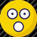 amazed, stare emoticon, temper, yawn icon