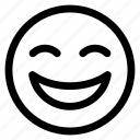 emoji, emoticon, face, happy, line, outline icon