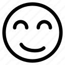 line, face, emoticon, expression, outline, happy, emoji icon