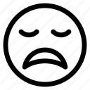 emoji, emoticon, expression, face, outline, sad icon