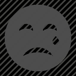 crying, emoticon, face, sad, smiley, smiley face, tear icon