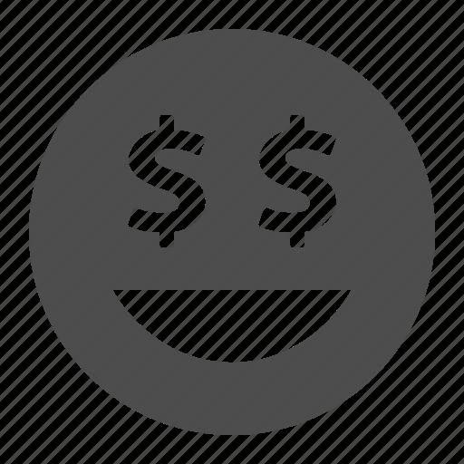dollar, emote, emoticon, emoticons, face, happy, money, smile, smiley icon
