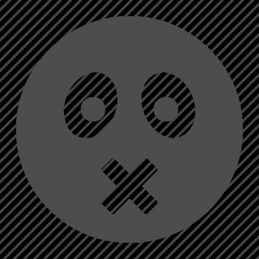 emote, emoticon, emoticons, face, mute, smiley icon