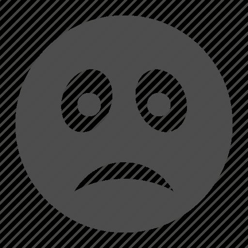 emote, emoticon, emoticons, face, sad, smiley, smiley face icon
