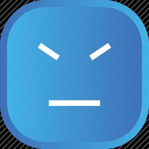 angry, blue, emoji, face, facial, smiley icon
