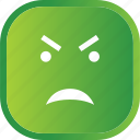 angry, emoji, face, facial, green, smiley icon