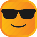 atitude, emoji, face, facial, glasses, smiley icon