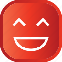 emoji, face, facial, laugh, red, smiley