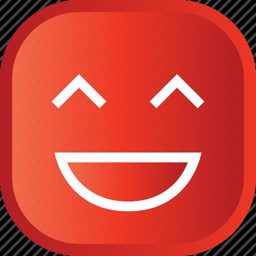 emoji, face, facial, laugh, red, smiley icon
