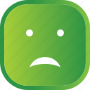 emoji, face, facial, green, sad, smiley icon