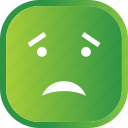 emoji, face, facial, green, no, sad, smiley icon