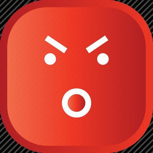 emoji, face, facial, red, smiley, wow icon