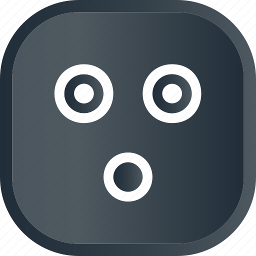 dark, emoji, face, facial, smiley, wow icon