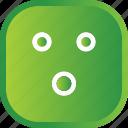 emoji, face, facial, green, smiley, wow icon