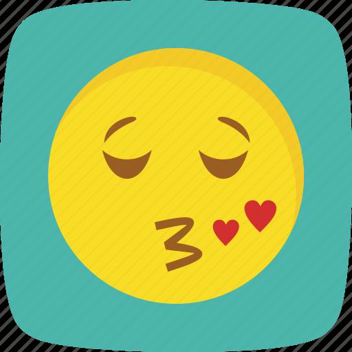 emoticon, face, kiss, smiley icon