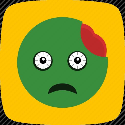 emoticon, face, smiley, zombie icon