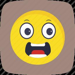 emoticon, face, scared, smiley icon
