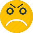 angry, emoticons, emotion, expression, face, furious, unhappy icon
