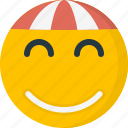 cap, emoticons, face, happy, hat, smile, smiley icon