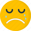 cry, crying, emoticons, emotion, face, sad, unhappy icon