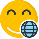 emoticons, smiley, globe, cyber, face, web, internet