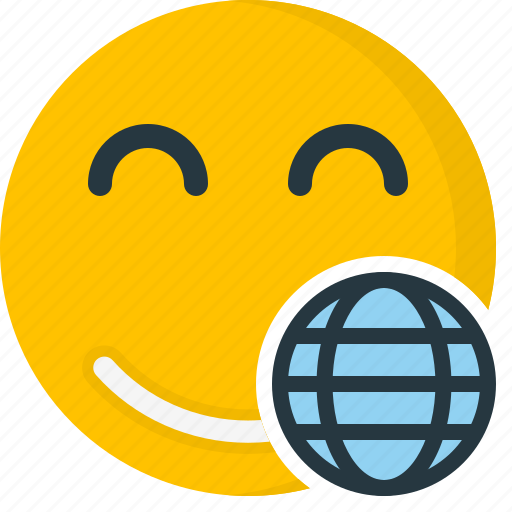 cyber, emoticons, face, globe, internet, smiley, web icon