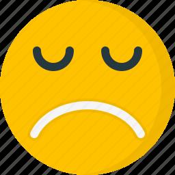 depression, emoticon, emoticons, emotion, face, sad, unhappy icon