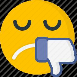 dislike, emoticons, expression, face, sad, unhappy, unlike icon