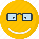emoticons, emotion, eyeglass, face, happy, smile, smiley icon