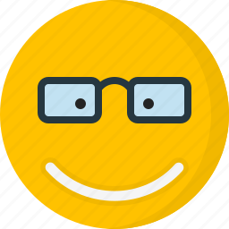 emoticons, emotion, eyeglass, face, happy, smile, smiley icon