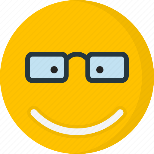 Eyeglass, emoticons, smiley, face, smile, happy, emotion icon