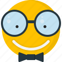 emoticons, smiley, geek, smile, happy, nerd, glasses
