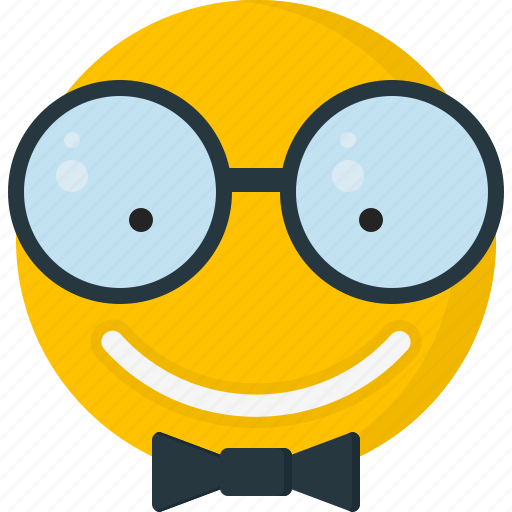 emoticons, geek, glasses, happy, nerd, smile, smiley icon
