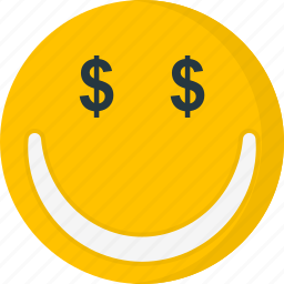 dollar, emoticons, face, happy, money, smile, smiley icon