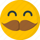 emoticons, emotion, face, happy, man, mustache, smiley icon