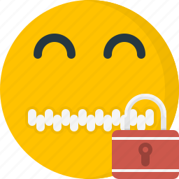emoticons, face, lock, locked, protect, security, zipper icon