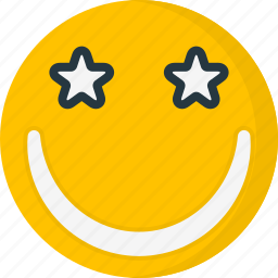 emoticons, face, happy, smile, smiley, star icon