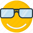 emoticons, smiley, face, sunglass, smile, happy, cool