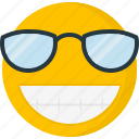 emoticons, smiley, big grin, sunglass, smile, happy