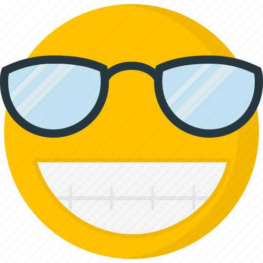 big grin, emoticons, happy, smile, smiley, sunglass icon