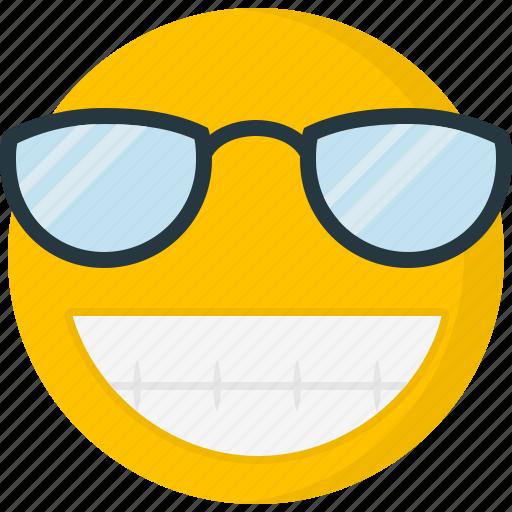 Big grin, emoticons, happy, smile, smiley, sunglass icon - Download on Iconfinder