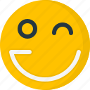 emoticons, face, happy, smile, smiley, wink icon