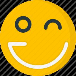 emoticons, face, happy, smile, smiley, wink icon